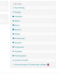 Screenshot mit den Quicklinks im Administrationsbereich in Joomla 3