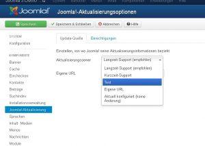 Hier lässt sich sich der Server für Joomla3 Aktualisierungen festlegen