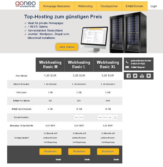 """Die Übersichtsseite für unsere """"klassischen"""" Hosting-Produkte. Diese Produkte heißen nun """"Webhosting Basic"""". Es gibt drei Varianten (M,L,XL) zu sehr günstigen Einstiegspreisen."""