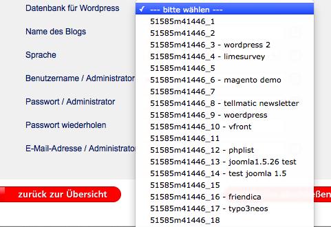 Datenbank für WordPress festlegen