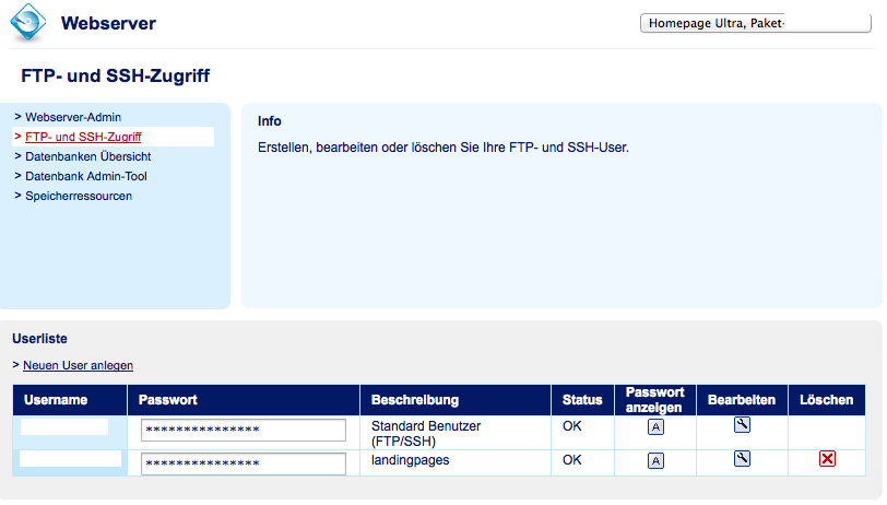 FTP und SSH Zugangsdaten ermitteln