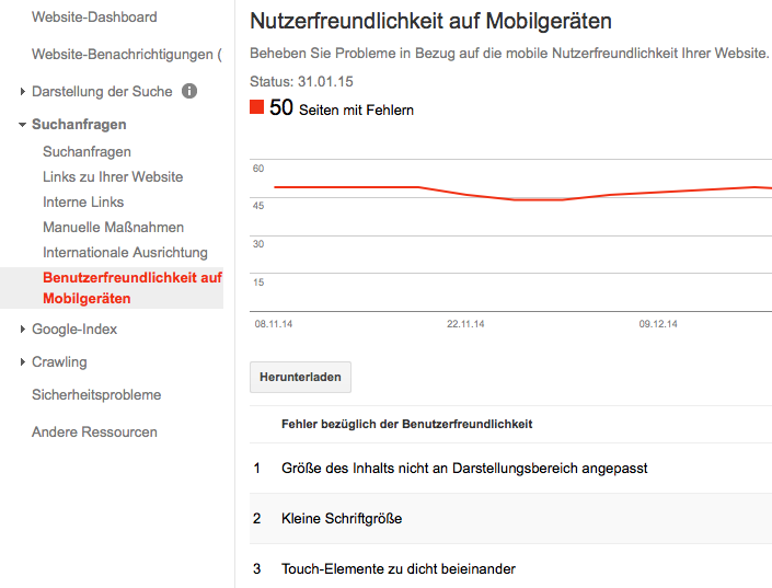 Ausschnitt aus Google Webmaster Tools zur mobilen Benutzerfreundlichkeit