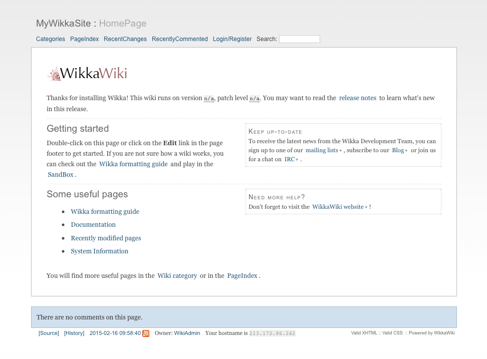 Screenshot WikkaWiki