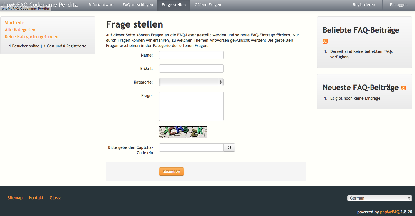 Screenshot Frage stellen für PHPMyFAQ