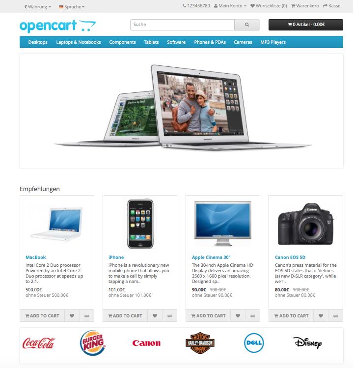Screenshot des Store Frontends von openCart