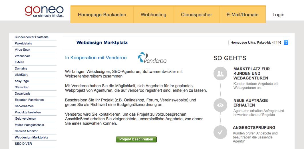"""Screenshot: Hier im goneo Kundencenter finden Sie in der Navigation links einen Menüpunkt """"Webdesign Marktplatz"""""""