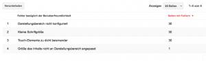 Screenshot Google Webmaster Tools, Nachrichten