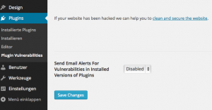 Screenshot WordPress mit Plugin Vulnerabilities