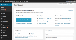 Screenshot von WordPress, Adminbereich (Dashboard)