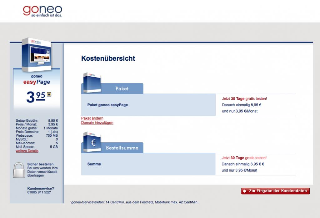 Bildschirmfoto des goneo Bestellprozesses