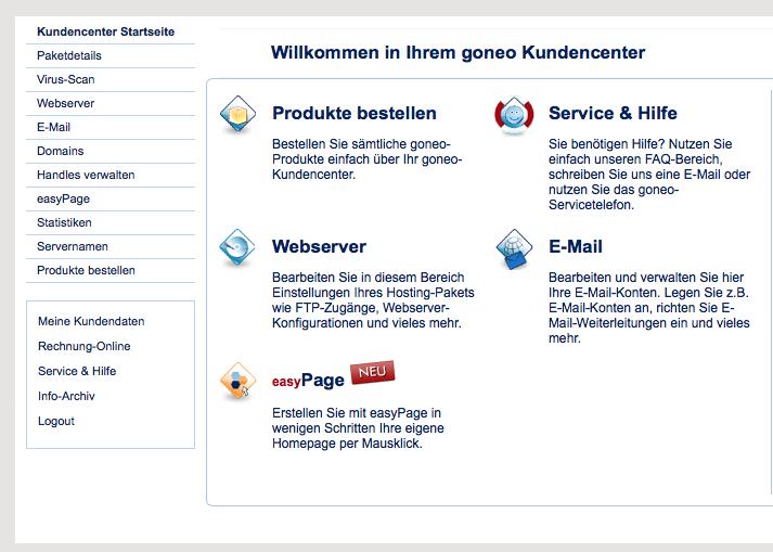 Bildschirmaufnahme des goneo Kundencenters (Ausschnitt)