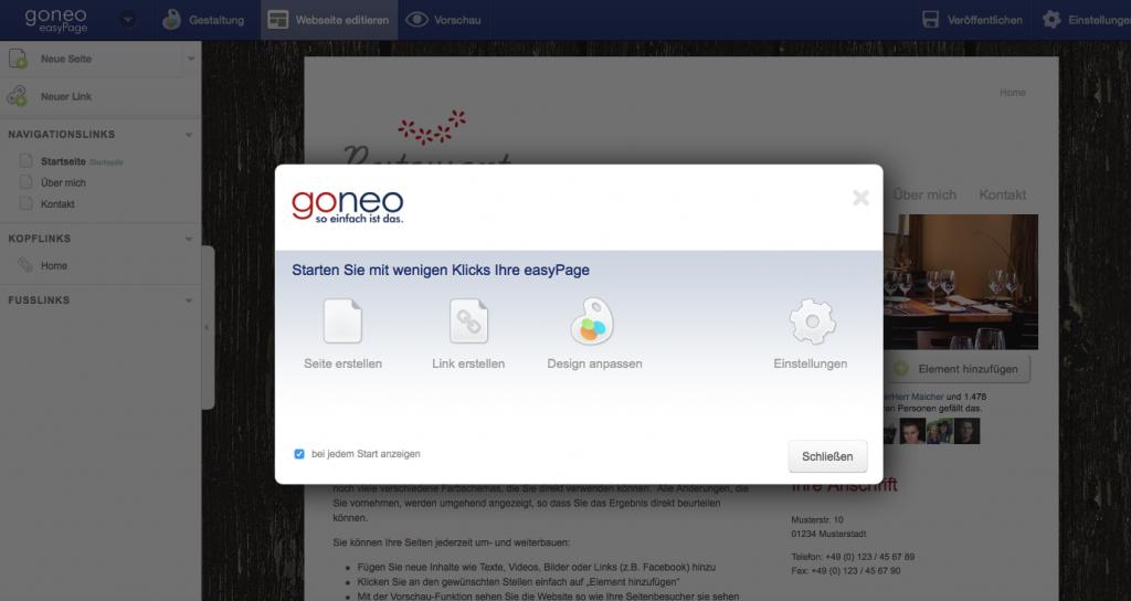 Bildschirmfoto des frisch gestarteten easyPage Editors.