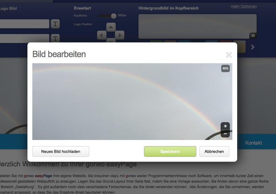 Bildschirmfoto neues Headerbild (Menü)