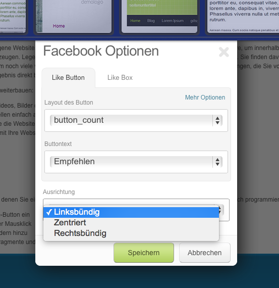 Facebook in easyPage integrieren.