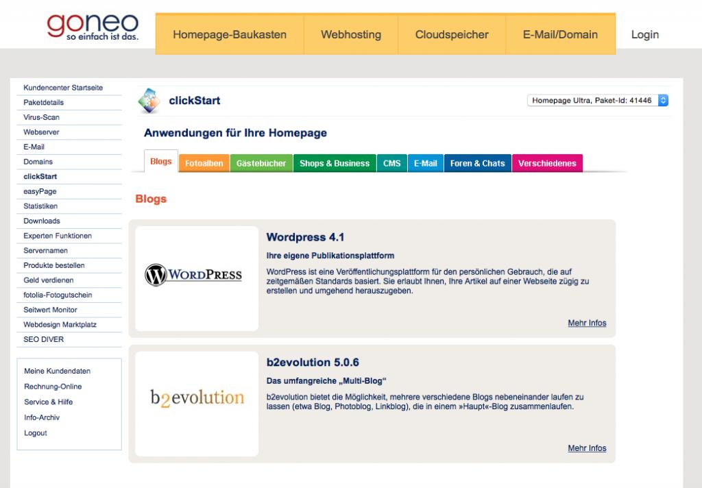 Bildschirmfoto des clickStart Menüs (Auswahl der Apps)