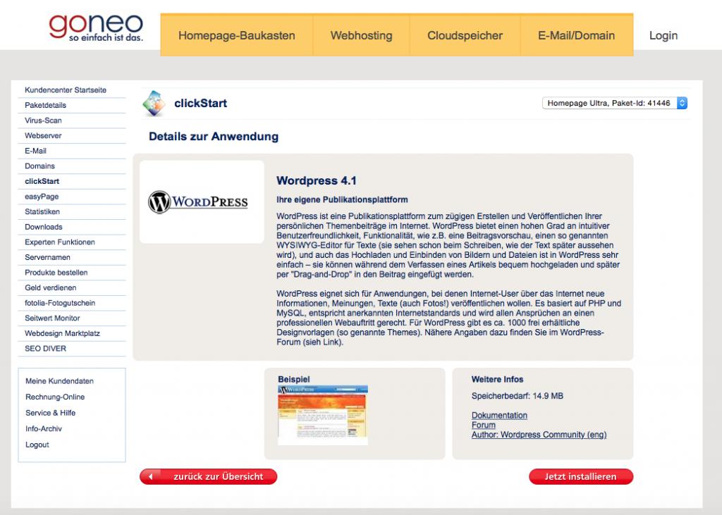 Bildschirmfoto clickstart WordPress mit Detailangaben