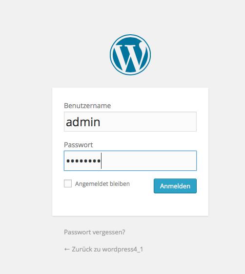 Bildschirmfoto wordPress 4.1 Login
