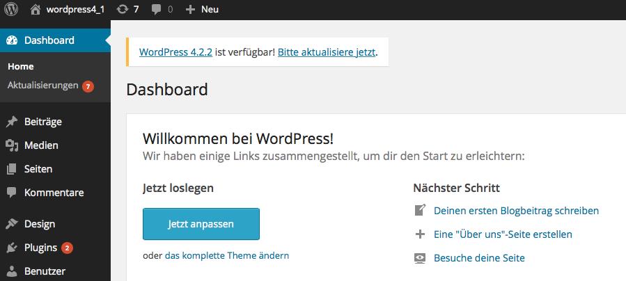 Bildschirmfoto WordPress 4.1. Dashboard