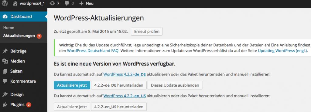 Bildschirmfoto WordPress Aktualisierungen