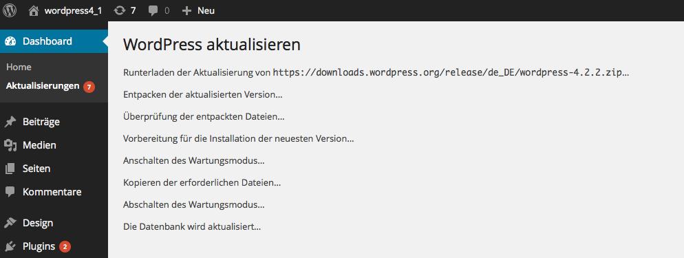 Bildschirmfoto WordPress Aktualisierung