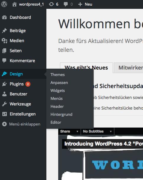 Bildschirmfoto WordPress Menü Design