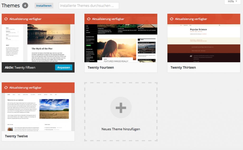 Bildschirmfoto WordPress Theme Auswahl.