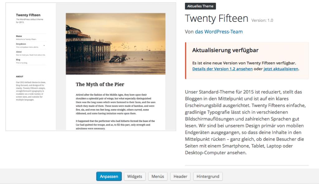 Bildschirmfoto Theme Twenty Fifteen