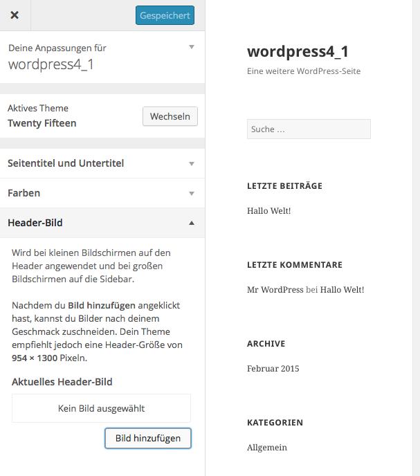 Bildschirmfoto WordPress Menue Theme Headerbild