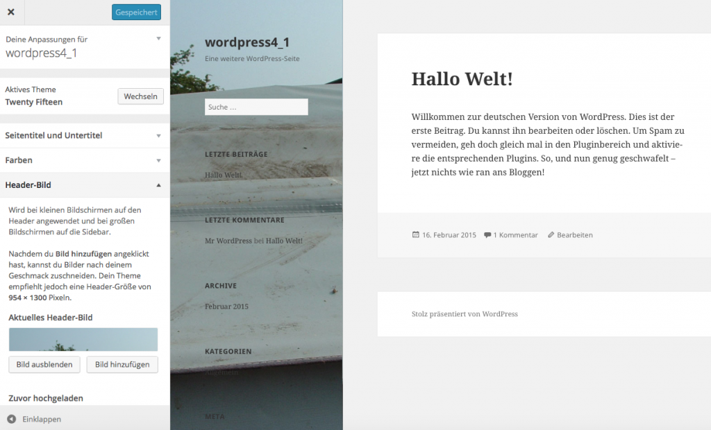 Bildschirmfoto Theme Headerbild Dialog WordPress