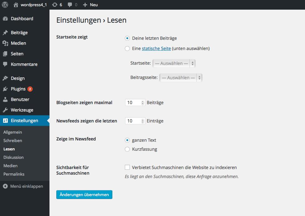 Bildschirmfoto Dialog Startseite von WordPress