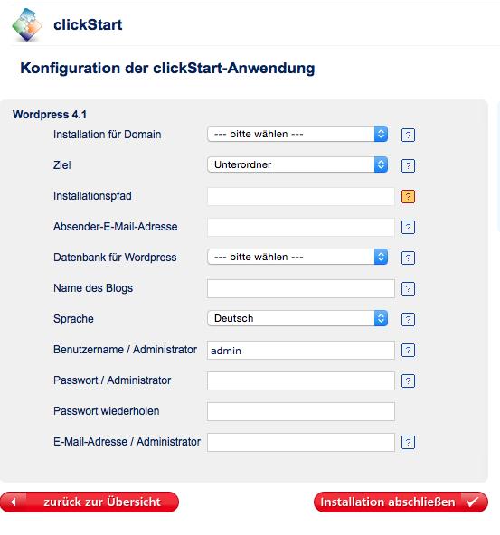 Bildschirmfoto mit dem Installationsdialog für WordPress (clickStart)