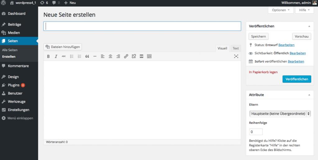 Bildschirmfoto Editor von WordPress zur Erstellung einer neuen Seite