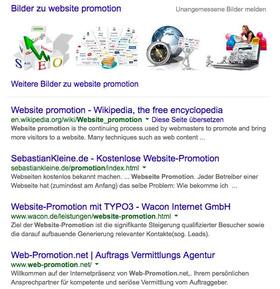 Bildschirmfoto Google Suchergebnisseite