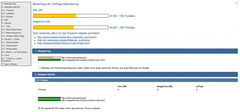 Bildschirmfoto SEO DIVER Onpage Analyse
