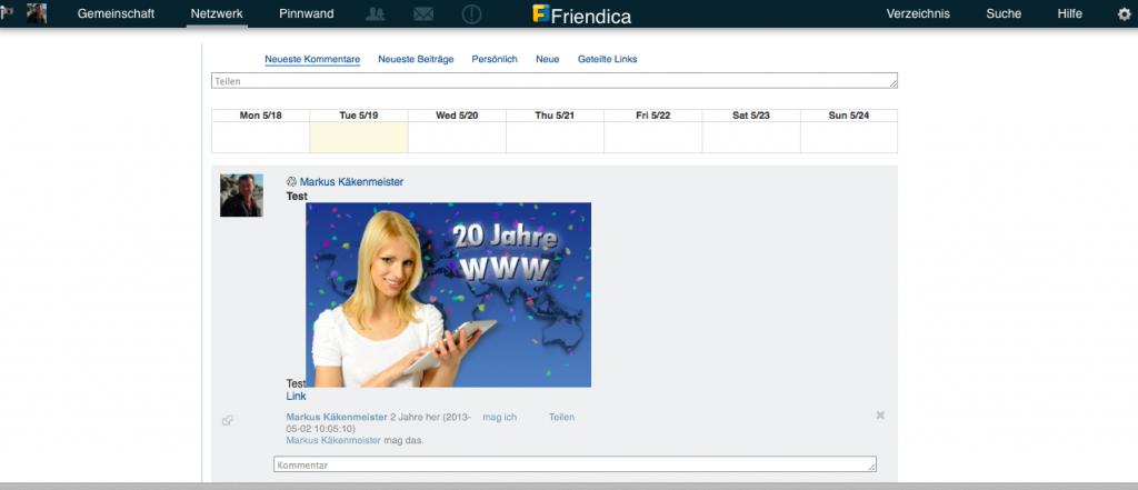 Bildschirmfoto Friendica 3.4 Pinnwand