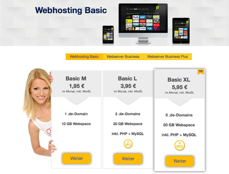 Bildschirmfoto goneo Hosting Basic