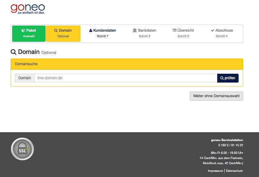 Bildschirmfoto goneo Bestellprozess Domainsuche