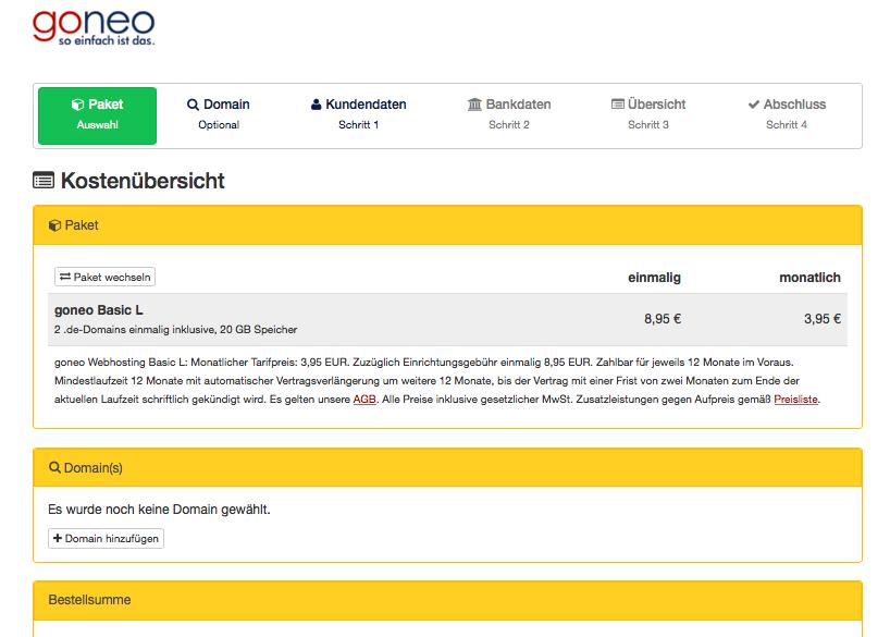 Bildschirmfoto goneo Bestellung Kostenübersicht
