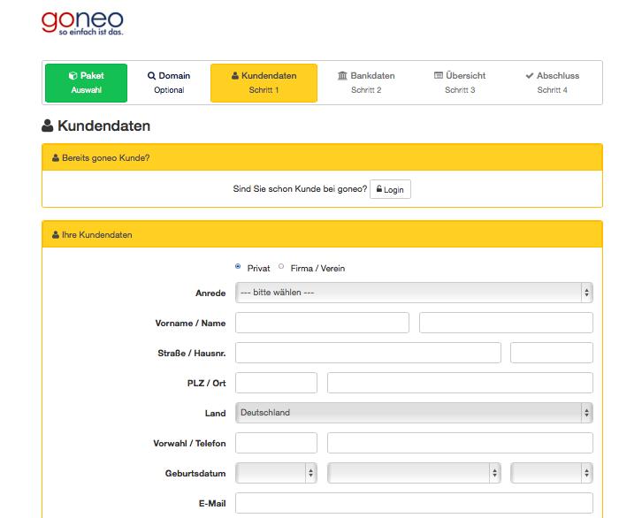 Bildschirmfoto Eingabe der Kundendaten bei goneo
