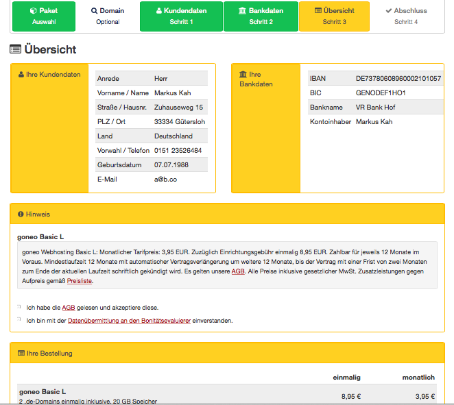 Bildschirmfoto Übersichtsseite über Kosten und Leistungen mit wesentlichen Produktbestandteilen