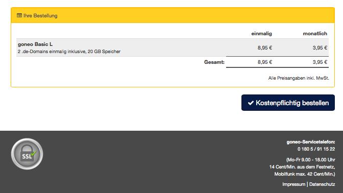 Bildschirmfoto Kostenpflichtig bestellen bei goneo