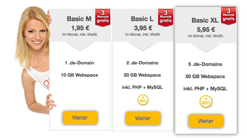 Webhosting Basic Angebot