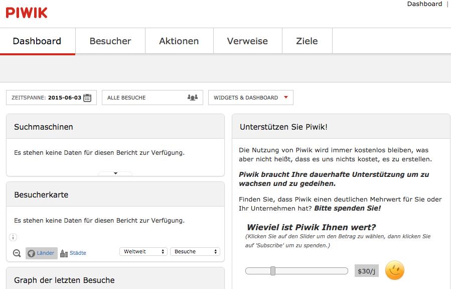 Bildschirmfoto das Piwik 2.13.1. Dashboard