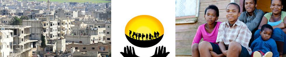Bilderzusammenstellung mit den Ruinen von Kobane in Syrien und einer schwarzen Migrantenfamilie