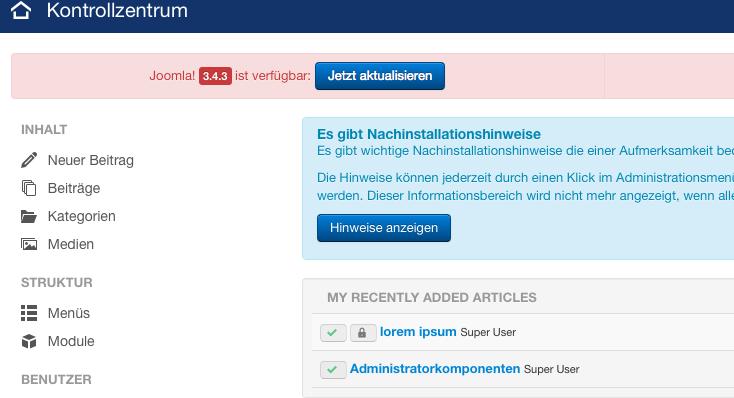 Bildschirmfoto Joomla 3.4 Backend