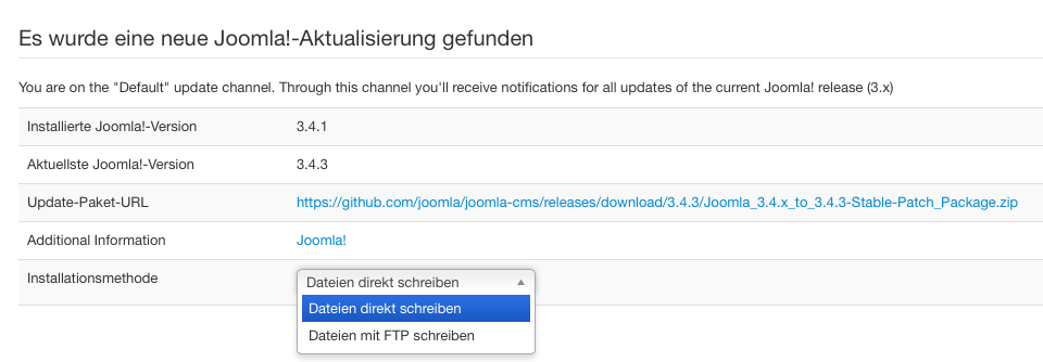 Screenshot Joomla 3.4 update Auswahl github oder FTP