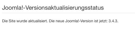 Screenshot der Update Bestätigung Joomla 3.4. nach Update