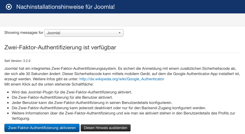 Beispiel Hinweis Zwei Faktor Authentifizierung in Joomla 3.4