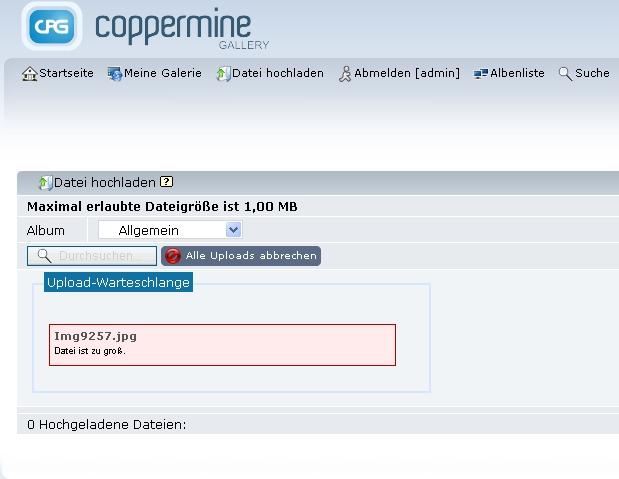 Coppermine Datei zu groß Warnung.