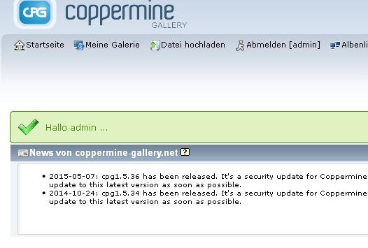 Coppermine Update Warnungen